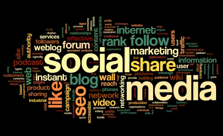 Social media concept in word tag cloud on black background Stock Photo - 23229515