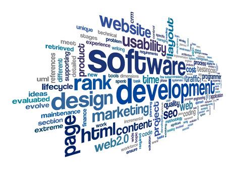 Concept de développement de logiciels dans nuage de tags sur fond blanc