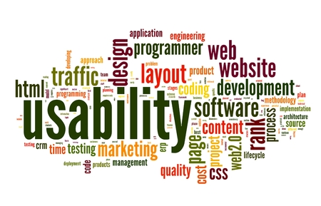 Web usability concept in tag cloud on white background photo