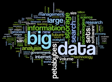 Big data concept in word tag cloud on black background photo