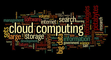 Cloud computing concept in word tag cloud on black background photo