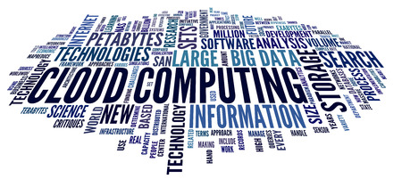 terminology: Cloud computing concept in word tag cloud on white in cloud shape