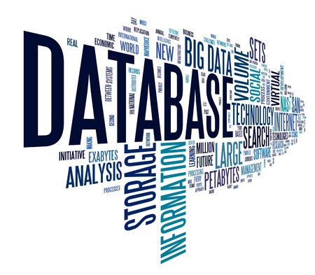 data storage: Database concept in word tag cloud on white background