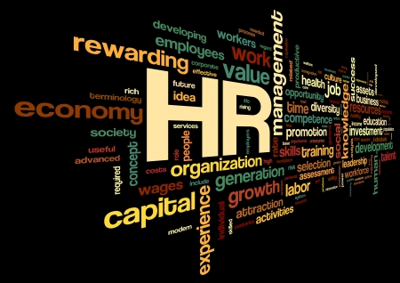 human resource: HR - human resources concept in tag cloud on black background Stock Photo