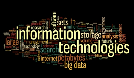 Information technology concept in tag cloud on black background