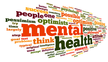 mental health problems: Mental health concept in word tag cloud on white