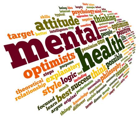 enfermedades mentales: Concepto de salud mental en la nube de palabra de la etiqueta en blanco Foto de archivo