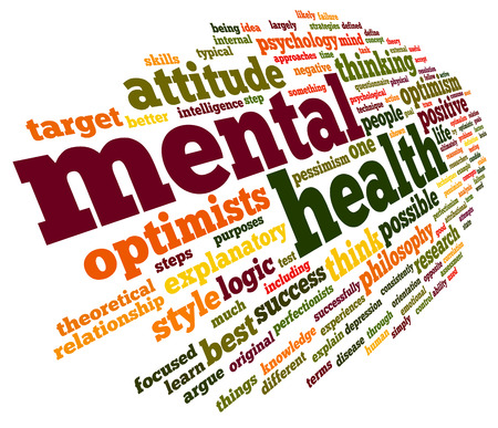 mental illness: Mental health concept in word tag cloud on white