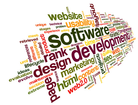 computer software: Software development concept in tag cloud on white background