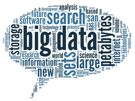 big data: Big data concept in word tag cloud on black background