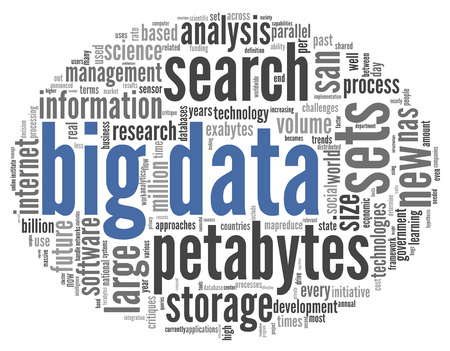 Big data concept in word tag cloud on black background