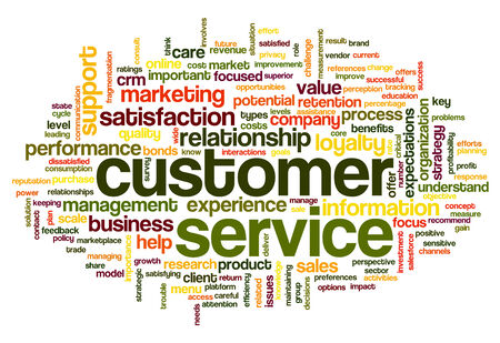 relationship management: Customer service concept in word tag cloud on white