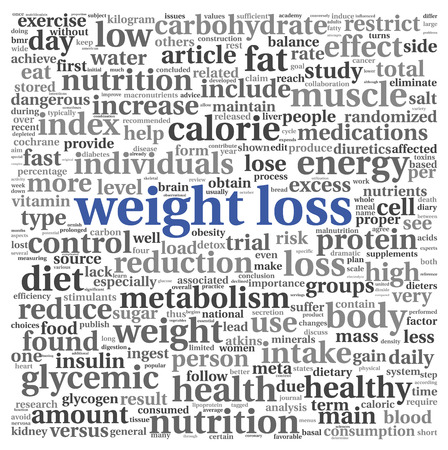 diet weight loss: Weight loss words concept in tag cloud on white Stock Photo