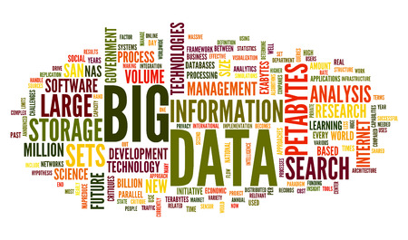 clouds: Big data concept in word tag cloud on white background