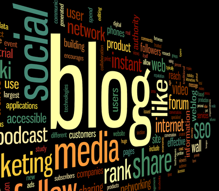 microblogging: Blog and social media concept in word tag cloud on black  background