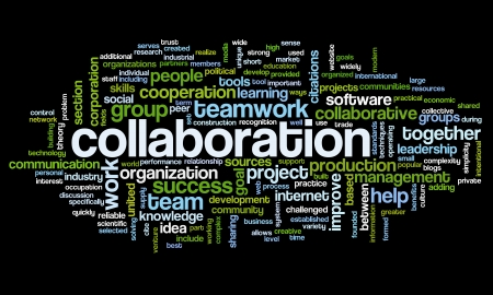 project management: Collaboration concept in word tag cloud isolated on black background