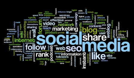 Social media concept in word tag cloud on black background Фото со стока