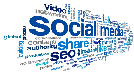 Social media concept in word tag cloud on white background Stock Photo - 23796145