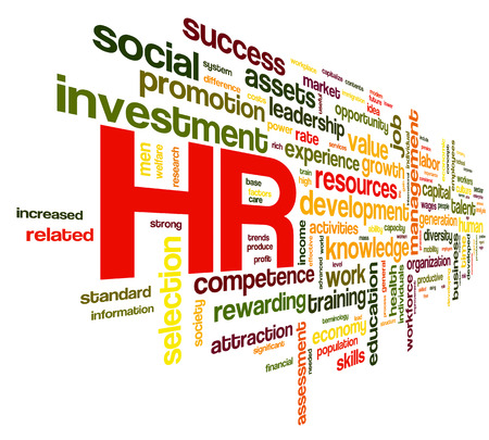 HR - human resources concept in tag cloud on white background photo