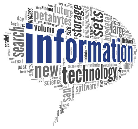 technology to communicate: Information technology concept in tag cloud on white background Stock Photo