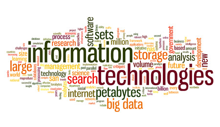 Information technology concept in tag cloud on white background Banco de Imagens