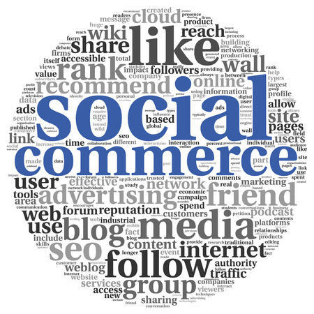 commerce: Social commerce concept in word tag cloud on white