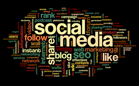 Social media concept in word tag cloud on black background Stock Photo - 23984189