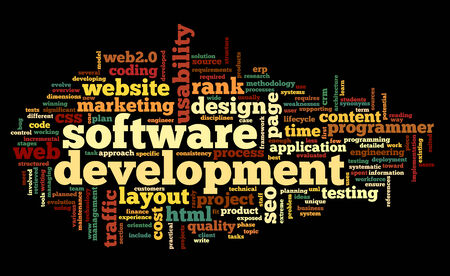 page rank: Software development concept in tag cloud on black background