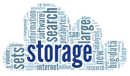 Storage concept in word tag cloud on white background photo