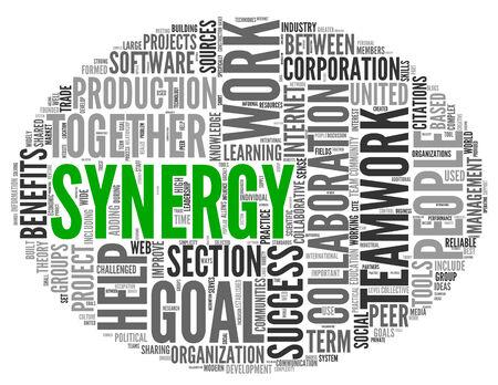 sinergia: Sinergia y trabajo en equipo concepto de palabra nube de etiquetas