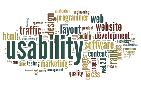 Web usability concept in tag cloud on white background Stock Photo - 23984195