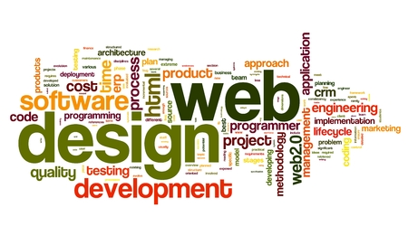 page rank: Web design concept in word tag cloud on white background