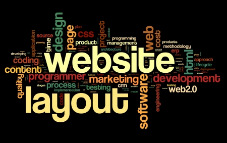 hypertext: Web layout concept in word tag cloud on black background Stock Photo
