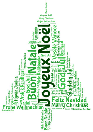 joyeux: Joyeux noel and merry christmas 2014 tree word tag cloud