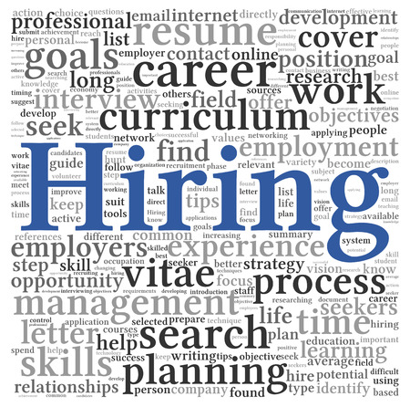 career development: Hiring and job search concept in word tag cloud on white background