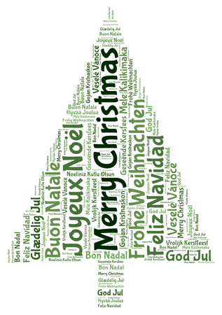 joyeux: Merry christmas 2014 tree word tag cloud Stock Photo