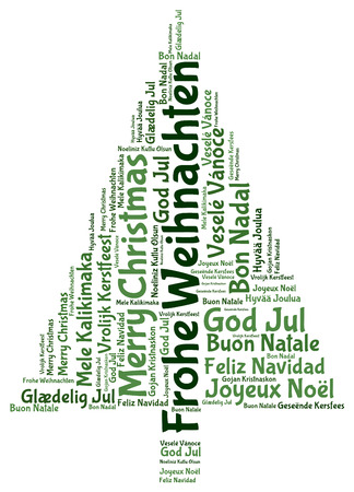 joyeux: Frohe Weihnachten and Merry christmas 2014 tree word tag cloud