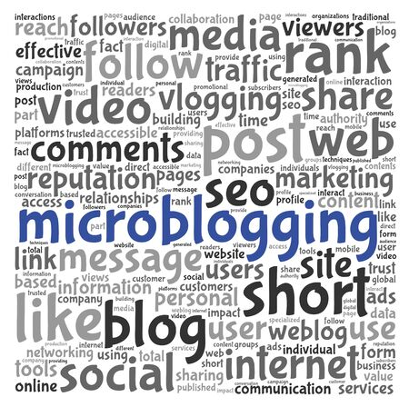 podcasts: Microblog and social media concept in word tag cloud on white background Stock Photo