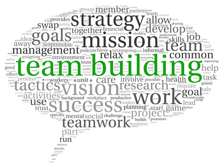 goal achievement: Teamwork and strategy concept in word tag cloud Stock Photo
