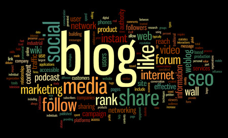 podcasts: Blog and social media concept in word tag cloud on black  background