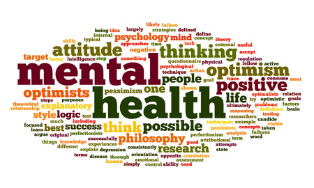 Mental health concept in word tag cloud on white photo