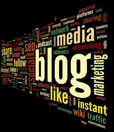 podcasts: Blog and social media concept in word tag cloud on black background Stock Photo
