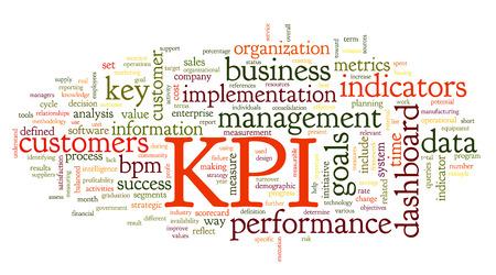 inteligencia: KPI indicadores clave de rendimiento en la palabra nube de etiquetas en el fondo blanco