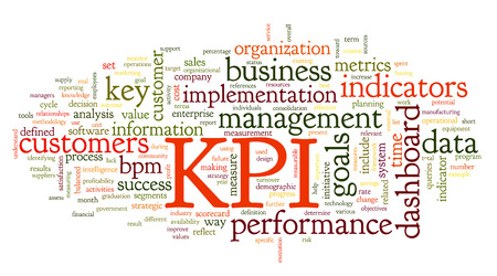 performances: KPI key performance indicators in word tag cloud on white background