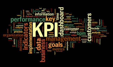 define: KPI key performance indicators in word tag cloud on black background