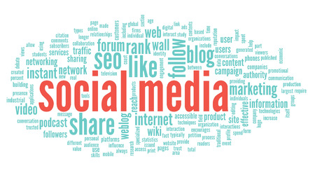 Social media concept in word tag cloud on white background Stock Photo - 25282390