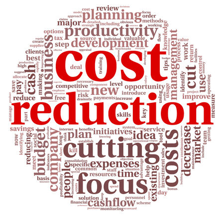 Costs reduction concept in word tag cloud photo