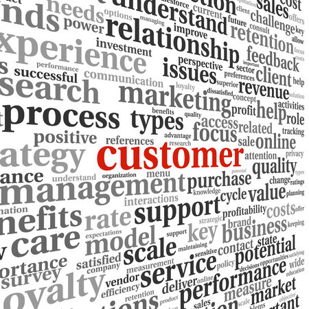 customer focus: Customer service concept in word tag cloud Stock Photo