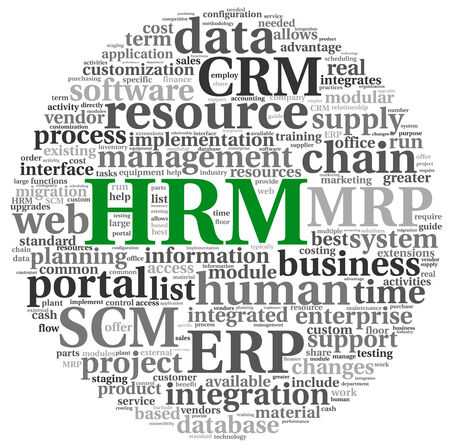 HRM Human resource management concept in tag cloud  photo
