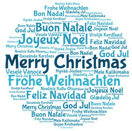 Merry christmas tree word tag cloud Stockfoto